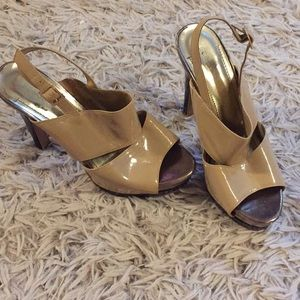 BCBGeneration nude and black heels 7 1/2